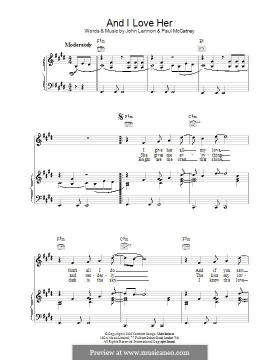 And I Love Her (The Beatles): Para vocais e piano (ou Guitarra) by John Lennon, Paul McCartney