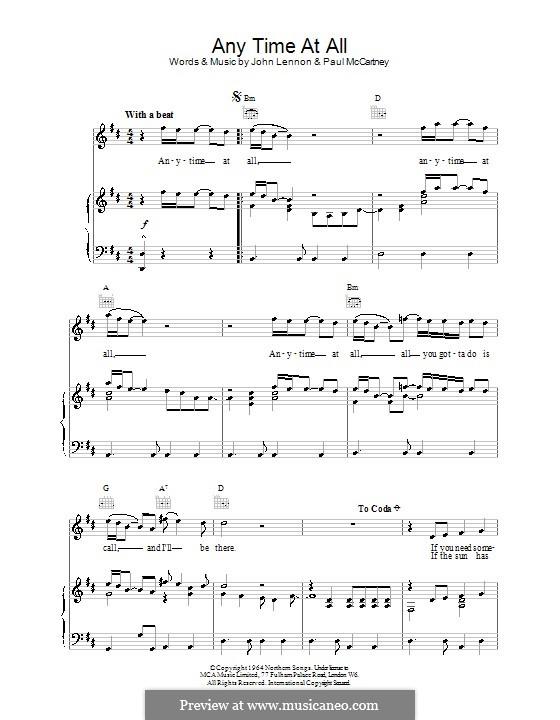 Any Time at All (The Beatles): Para vocais e piano (ou Guitarra) by John Lennon, Paul McCartney