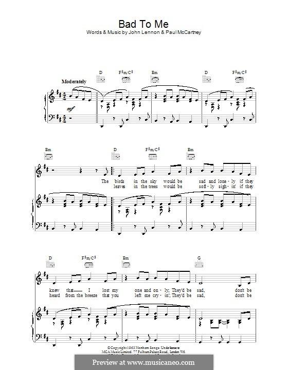 Bad to Me (The Beatles): Para vocais e piano (ou Guitarra) by John Lennon, Paul McCartney