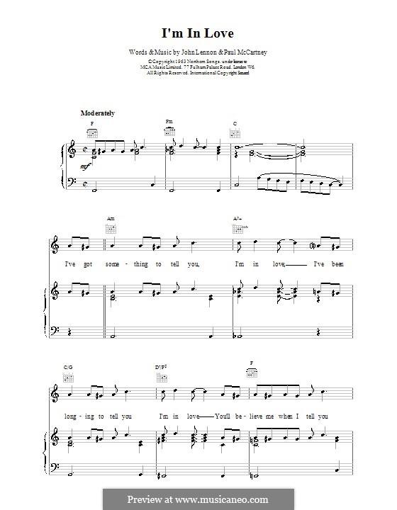 I'm in Love (The Beatles): Para vocais e piano (ou Guitarra) by John Lennon, Paul McCartney