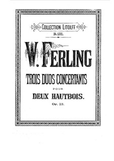Three Concert Duos for Two Oboes, Op.13: partes by Franz Wilhelm Ferling