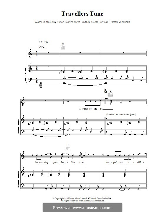 Travellers Tune (Ocean Colour Scene): Para vocais e piano (ou Guitarra) by Damon Minchella, Oscar Harrison, Simon Fowler, Steve Cradock