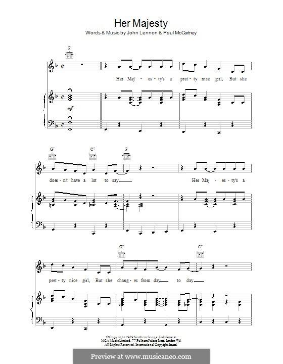 Her Majesty (The Beatles): Para vocais e piano (ou Guitarra) by John Lennon, Paul McCartney