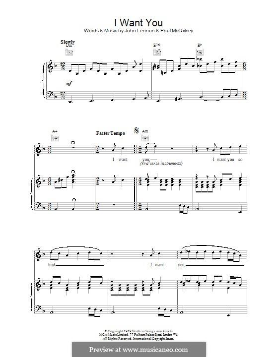 I Want You (She's So Heavy): Para voz e piano ou guitarra (The Beatles) by John Lennon, Paul McCartney