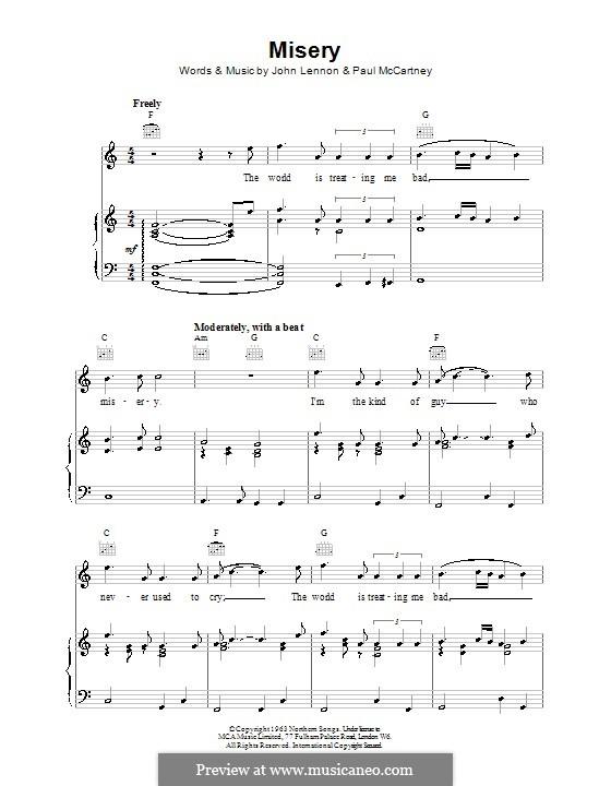 Misery (The Beatles): Para vocais e piano (ou Guitarra) by John Lennon, Paul McCartney