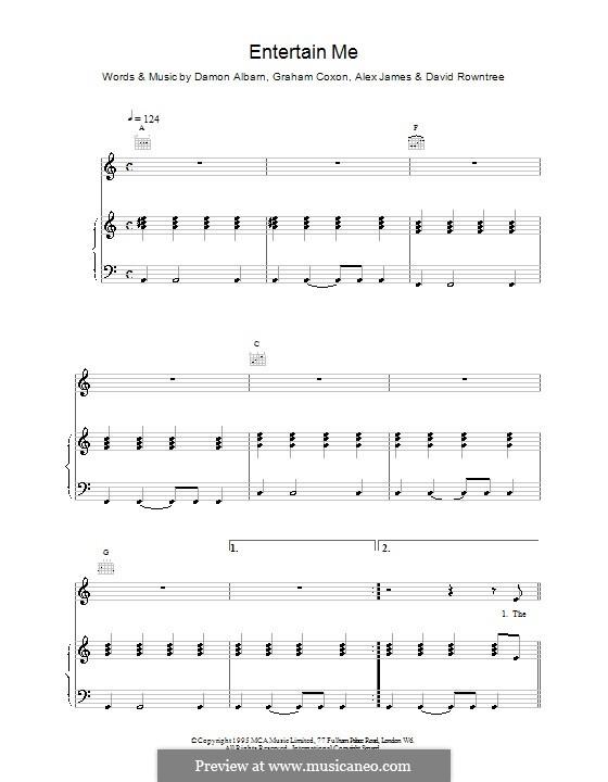 Entertain Me (Blur): Para vocais e piano (ou Guitarra) by Alex James, Damon Albarn, David Rowntree, Graham Coxon