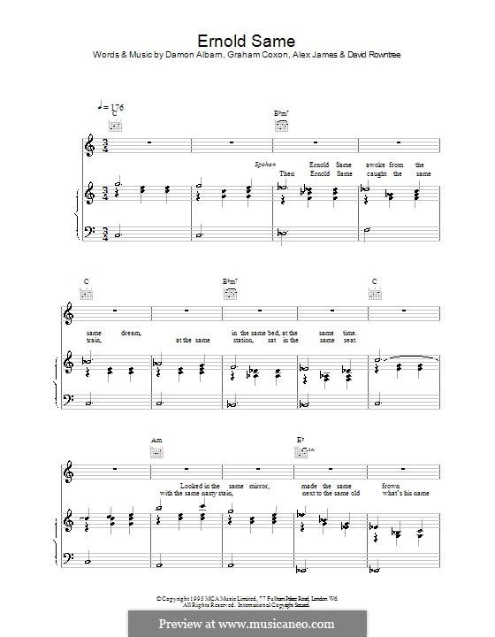 Ernold Same (Blur): Para vocais e piano (ou Guitarra) by Alex James, Damon Albarn, David Rowntree, Graham Coxon