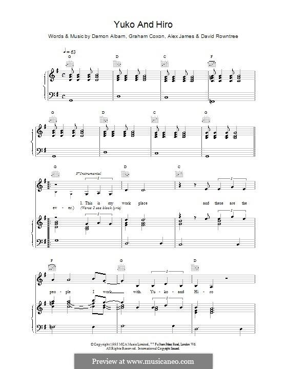 Yuko and Hiro (Blur): Para vocais e piano (ou Guitarra) by Alex James, Damon Albarn, David Rowntree, Graham Coxon