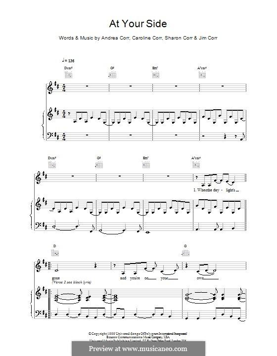 At Your Side (The Corrs): Para vocais e piano (ou Guitarra) by Andrea Corr, Caroline Corr, Jim Corr, Sharon Corr