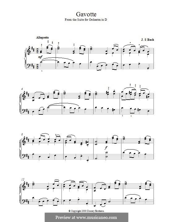 Gavotte: versão para piano by Johann Sebastian Bach