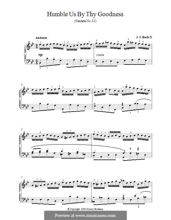 Jesus nahm zu sich die Zwölfe, BWV 22: Choral, for piano by Johann Sebastian Bach