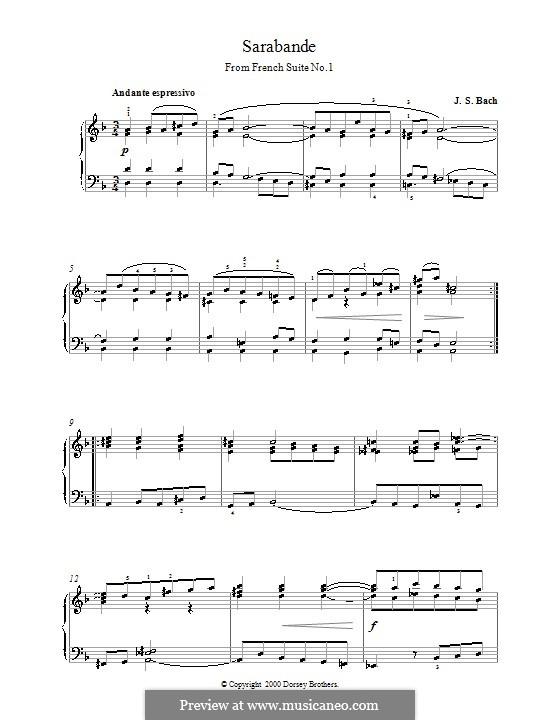 Suite No.1 in D Minor, BWV 812: Sarabande, para piano by Johann Sebastian Bach