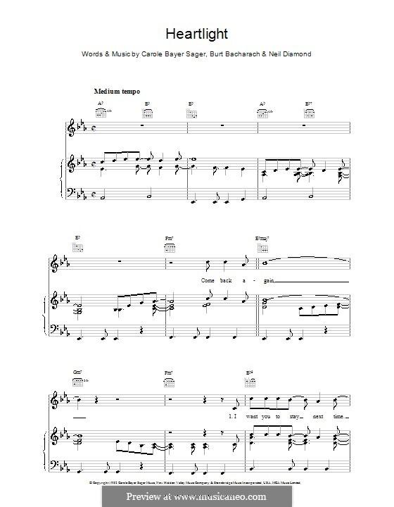 Heartlight: Para vocais e piano (ou Guitarra) by Burt Bacharach, Carole Bayer Sager, Neil Diamond