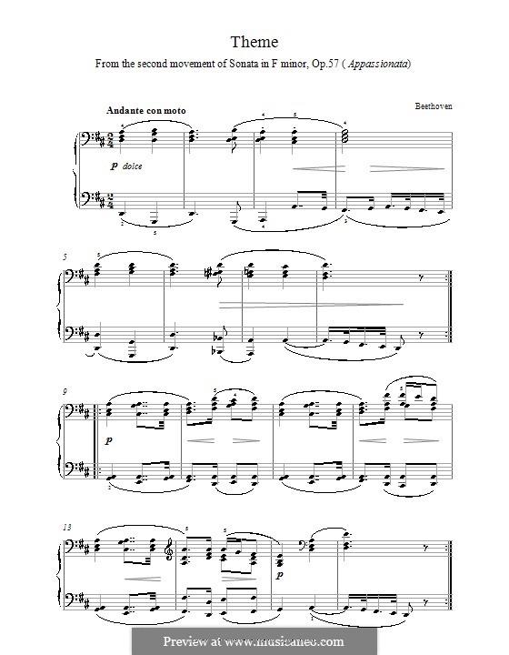 Sonata for Piano No.23 'Appassionata', Op.57: Movement II. Theme by Ludwig van Beethoven
