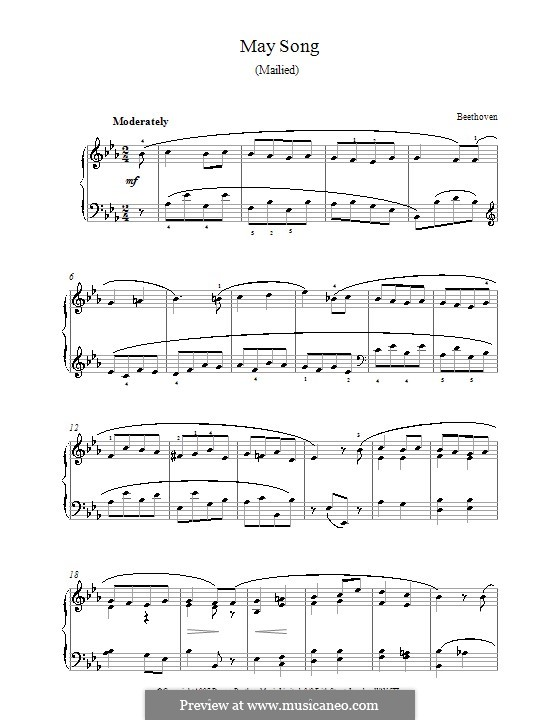 Eight Songs, Op.52: No.4 May Song, for piano by Ludwig van Beethoven