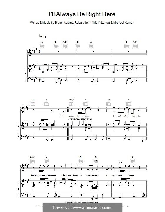 I'll Always Be Right Here: Para vocais e piano (ou Guitarra) by Bryan Adams