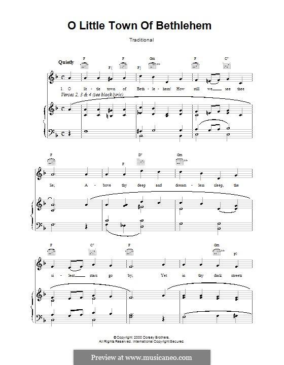 O Little Town of Bethlehem: Para vocais e piano (ou Guitarra) by Lewis Henry Redner