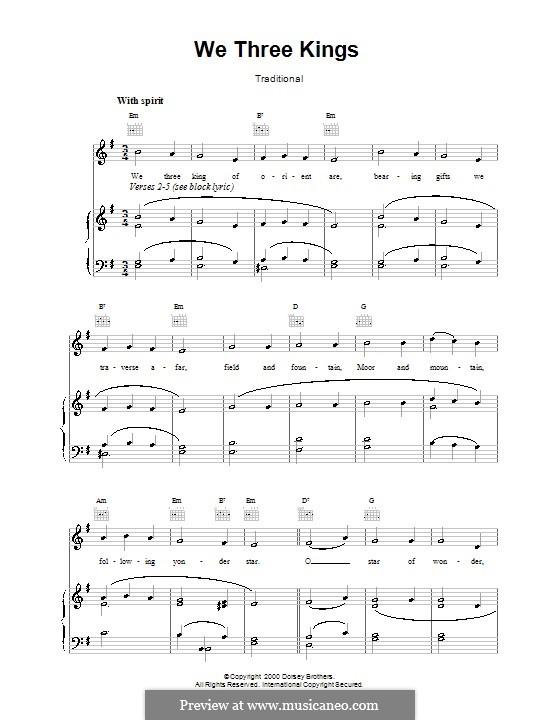 We Three Kings of Orient are: Para vocais e piano (ou Guitarra) by John H. Hopkins Jr.