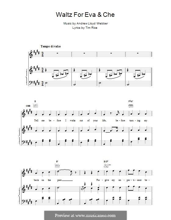 Waltz for Eva and Che: Para vocais e piano (ou Guitarra) by Andrew Lloyd Webber