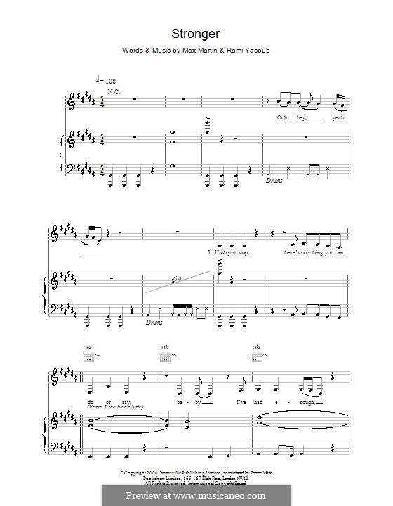 Stronger (Britney Spears): Para vocais e piano (ou Guitarra) by Max Martin, Rami Yacoub