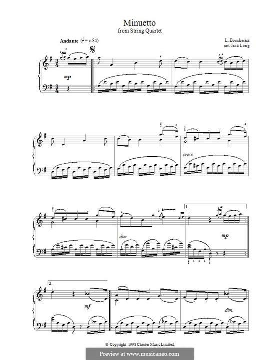 String Quintet No.5 in E Major, G.275 Op.107: Minuet, for piano (G Major) by Luigi Boccherini