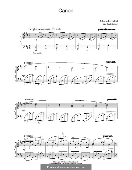 Canon in D Major (Printable): For piano (version by Jack Long) by Johann Pachelbel