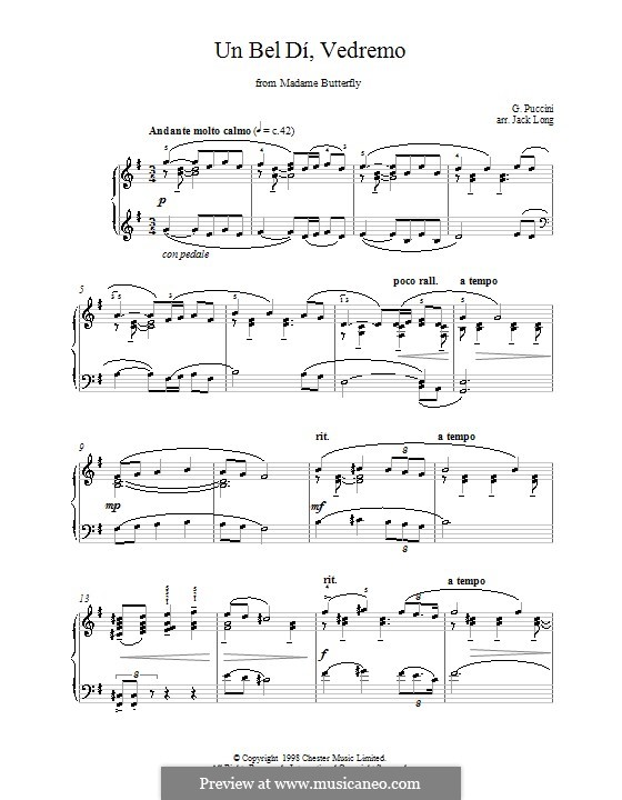 Madama Butterfly : Un bel dí, vedremo, for piano by Giacomo Puccini