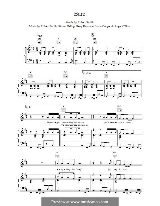 Bare (The Cure): Para vocais e piano (ou Guitarra) by Robert Gary Smith