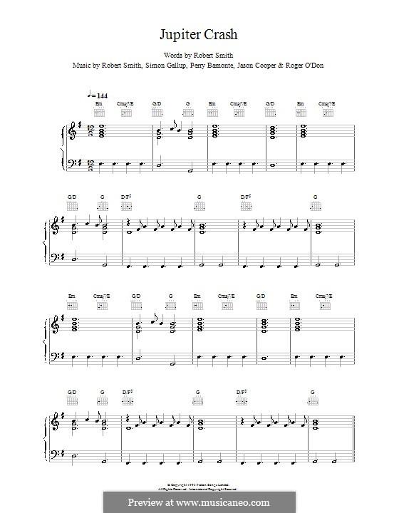 Jupiter Crash (The Cure): Para vocais e piano (ou Guitarra) by Robert Gary Smith