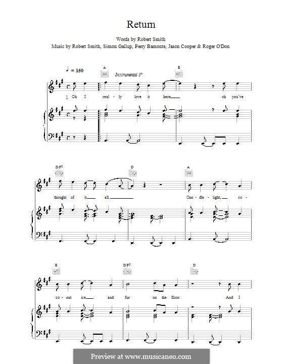 Return (The Cure): Para vocais e piano (ou Guitarra) by Robert Gary Smith