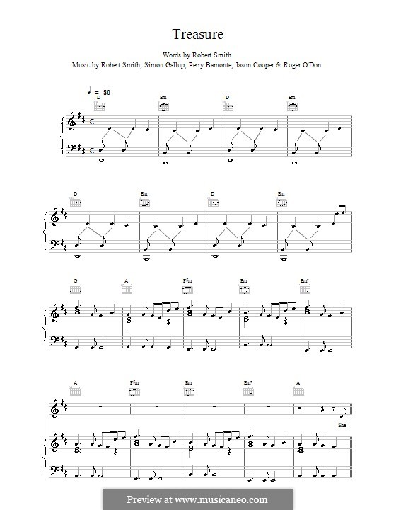 Treasure (The Cure): Para vocais e piano (ou Guitarra) by Robert Gary Smith