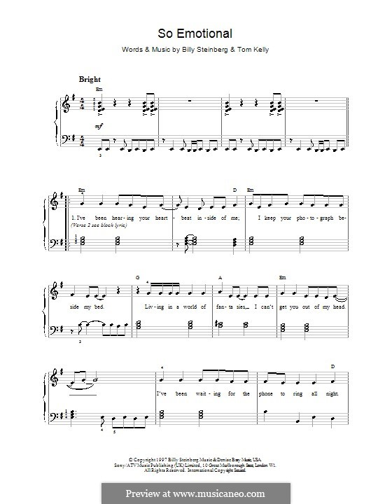 So Emotional (Whitney Houston): Para vocais e piano (ou Guitarra) by Billy Steinberg, Tom Kelly