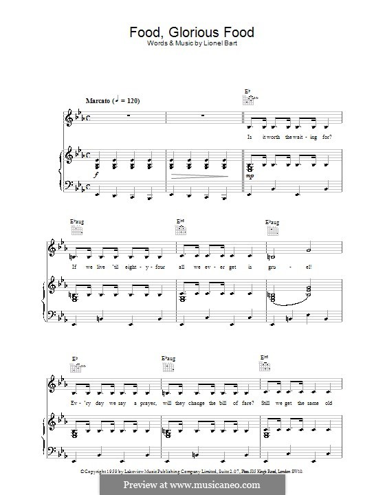 Food, Glorious Food (from Oliver!): Para vocais e piano (ou Guitarra) by Lionel Bart