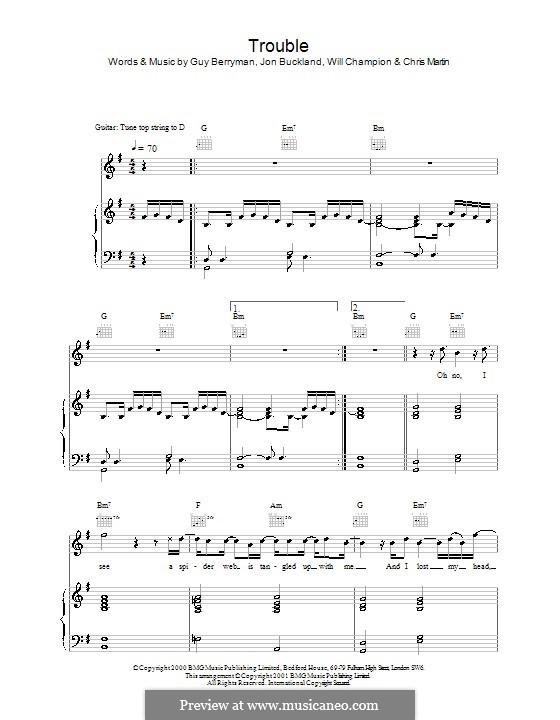 Trouble (Coldplay): Para vocais e piano (ou Guitarra) by Chris Martin, Guy Berryman, Jonny Buckland, Will Champion