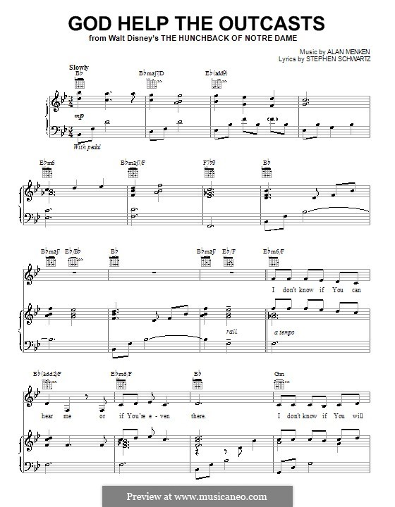 God Help the Outcasts (from The Hunchback of Notre Dame): Para vocais e piano (ou Guitarra) by Alan Menken