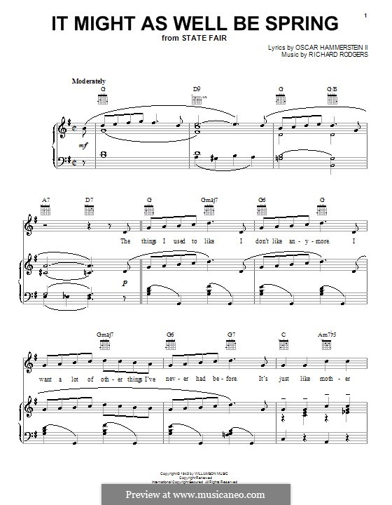 It Might as Well Be Spring: para voz,piano ou guitarra (G maior) by Richard Rodgers