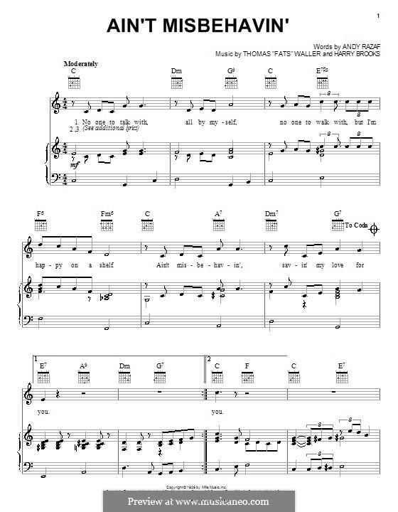 Ain't Misbehavin': Para vocais e piano (ou Guitarra) by Fats Waller, Harry Brooks