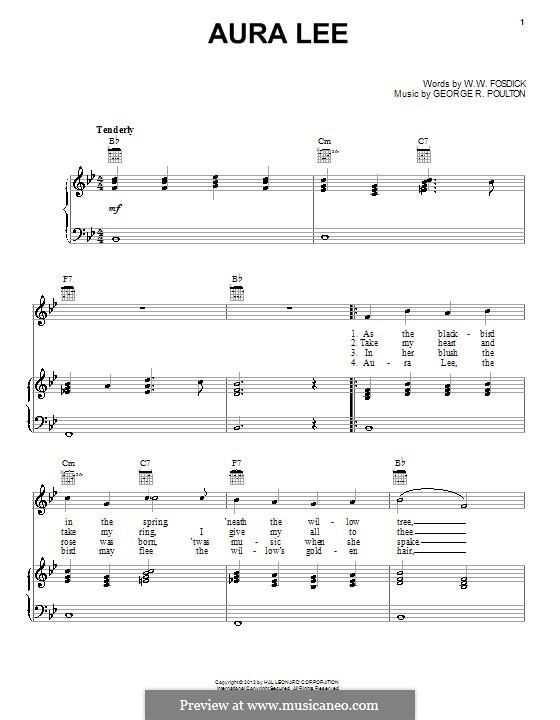 Aura Lee: Para vocais e piano (ou Guitarra) by George R. Poulton