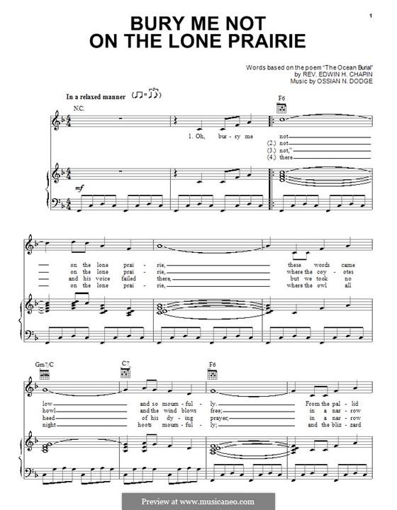 Bury Me Not on the Lone Prairie: Para vocais e piano (ou Guitarra) by Ossian N. Dodge