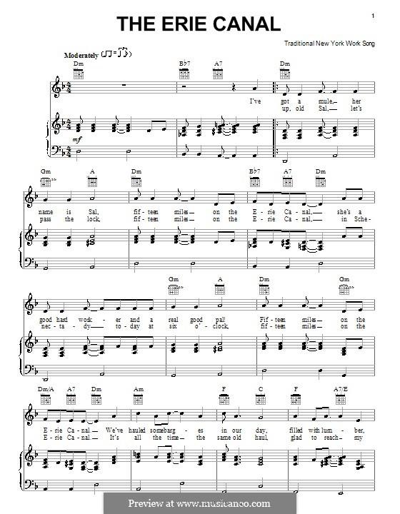 The Erie Canal: Para vocais e piano (ou Guitarra) by folklore