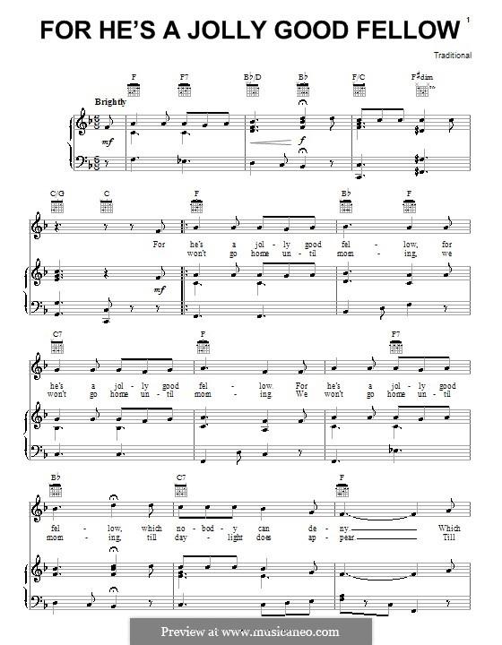 For He's a Jolly Good Fellow: Para vocais e piano (ou Guitarra) by folklore