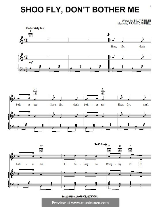 Shoo Fly, Don't Bother Me: Para vocais e piano (ou Guitarra) by Frank Campbell