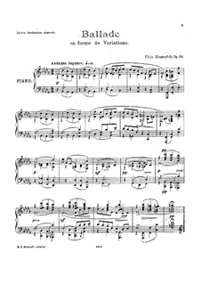 Ballade in the Form of Variations, Op.34: Ballade in the Form of Variations by Felix Blumenfeld