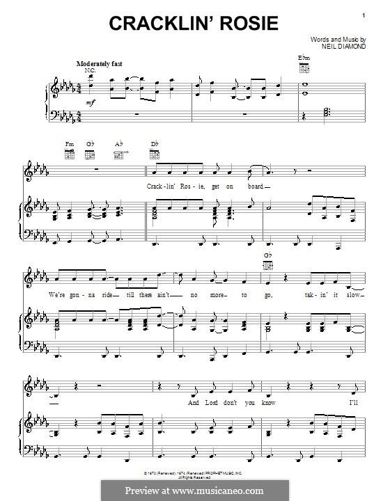 Cracklin' Rosie: Para vocais e piano (ou Guitarra) by Neil Diamond