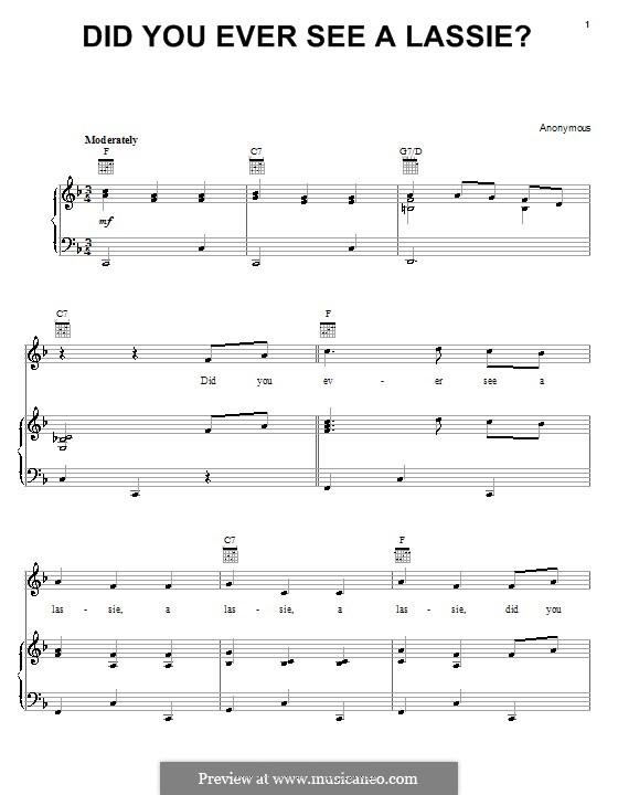 Did You Ever See a Lassie?: Para vocais e piano (ou Guitarra) by folklore