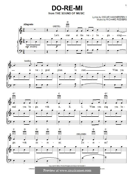 Do-Re-Mi (from The Sound of Music): para vocais,piano ou guitarra by Richard Rodgers