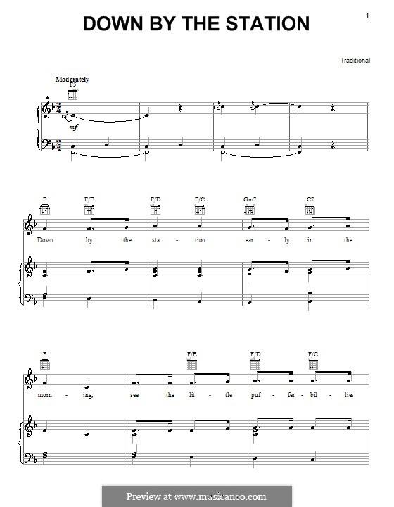 Down By the Station: Para vocais e piano (ou Guitarra) by folklore