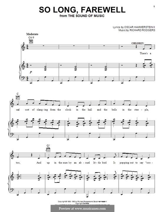 So Long, Farewell (from The Sound of Music): Para vocais e piano (ou Guitarra) by Richard Rodgers