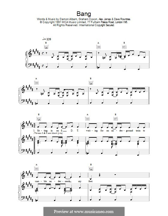 Bang (Blur): Para vocais e piano (ou Guitarra) by Alex James, Damon Albarn, David Rowntree, Graham Coxon