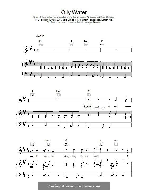 Oily Water (Blur): Para vocais e piano (ou Guitarra) by Alex James, Damon Albarn, David Rowntree, Graham Coxon